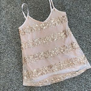 BKE tank cream gold sequined tank top small